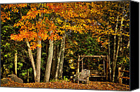 Chairs Canvas Prints - A Romantic Autumn Spot Canvas Print by David Patterson