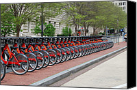 D.c. Digital Art Canvas Prints - A row of Red Bikes Canvas Print by Eva Kaufman