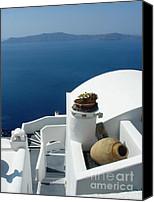 Thira Canvas Prints - A Santorini Welcome Canvas Print by Julie Palencia