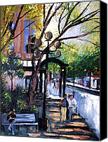 Impressionist Mixed Media Canvas Prints - A Saturday Stroll  Canvas Print by Anthony Falbo