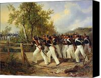 Military Uniform Painting Canvas Prints - A Scene from the soldiers life Canvas Print by Carl Schulz