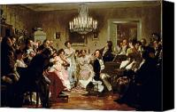 Viennese Canvas Prints - A Schubert Evening in a Vienna Salon Canvas Print by Julius Schmid