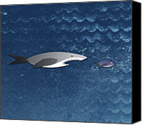 No People Digital Art Canvas Prints - A Shark Chasing A Smaller Fish Canvas Print by Jutta Kuss