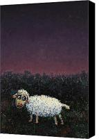 Dark Painting Canvas Prints - A sheep in the dark Canvas Print by James W Johnson