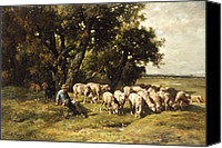 Farm Tapestries Textiles Canvas Prints - A shepherd and his flock Canvas Print by Charles Emile Jacques
