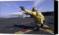 Operation Iraqi Freedom Canvas Prints - A Shooter Signals The Launch Of An Canvas Print by Stocktrek Images