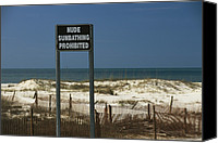 Sand Fences Canvas Prints - A Sign On A Public Beach Warns Of No Canvas Print by Raymond Gehman