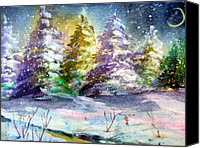 Bright Drawings Canvas Prints - A Silent Night Canvas Print by Mindy Newman