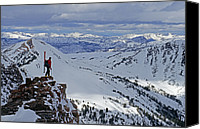 Success Photo Canvas Prints - A Skier Overlooks Absaroka Range Canvas Print by Gordon Wiltsie