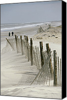 Sand Fences Canvas Prints - A Snow Fence Stretches Across A Dune Canvas Print by Skip Brown