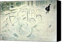 Winter Prints Drawings Canvas Prints - A Snowy Day Canvas Print by Yoshiko Mishina