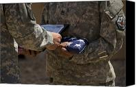Commemorating Canvas Prints - A Soldier Is Presented The American Canvas Print by Stocktrek Images