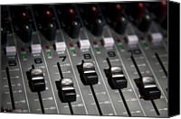 Equipment Canvas Prints - A Sound Mixing Board, Close-up, Full Frame Canvas Print by Tobias Titz