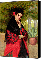 Half-length Painting Canvas Prints - A Spanish Beauty Canvas Print by John-Bagnold Burgess