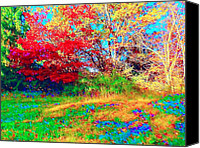 Indiana Autumn Digital Art Canvas Prints - A Splash in Color Canvas Print by Jan Bonner