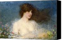Half-length Canvas Prints - A Spring Idyll Canvas Print by George Henry Boughton
