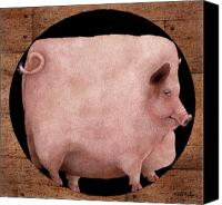 Pig Painting Canvas Prints - A square pig in a round hole... Canvas Print by Will Bullas