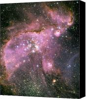 Hubble Canvas Prints - A Star-forming Region In The Small Canvas Print by Stocktrek Images