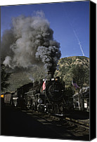 Rail Vehicles Canvas Prints - A Steam Engine Leaves The Station Canvas Print by Taylor S. Kennedy