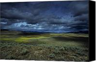 Image Setting Photo Canvas Prints - A Storm Builds Up Over A Colorado Canvas Print by David Edwards