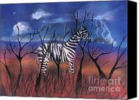 Zebra Pastels Canvas Prints - A Stormy Night for a Zebra  Canvas Print by Caroline Peacock