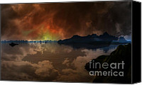 Stormy Mixed Media Canvas Prints - A Stormy Sky over the South Pacific 1 Canvas Print by H G Mielke