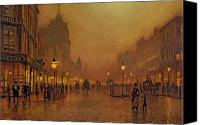 Cobbles Canvas Prints - A Street at Night Canvas Print by John Atkinson Grimshaw
