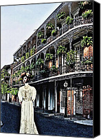 James Griffin Canvas Prints - A Street In New Orleans French Quarter Canvas Print by James Griffin