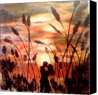 Kiss Pastels Canvas Prints - A Sunset Kiss Canvas Print by Elizabeth Marks