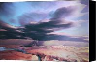 Frightening Digital Art Canvas Prints - A Swift Moving Thunderstorm Moves Canvas Print by Corey Ford
