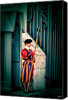 Vatican Digital Art Canvas Prints - A Swiss Guard Canvas Print by Tom Prendergast