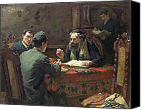 Rabbi Canvas Prints - A Theological Debate Canvas Print by Eduard Frankfort