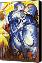 Abstract Equine Canvas Prints - A Tower of Blue Horses Canvas Print by Franz Marc