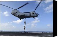 Aircraft Photo Canvas Prints - A Trio Of Marines Fast Rope Canvas Print by Stocktrek Images