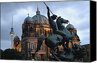 Twilight Views Canvas Prints - A Twilight View Of The Berlin Cathedral Canvas Print by Jim Webb