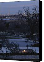 Twilight Views Canvas Prints - A Twilight View Of The John F. Kennedy Canvas Print by Sisse Brimberg
