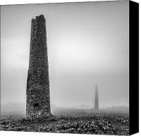 Kernow Canvas Prints - A Twin cornish mine chimneys Canvas Print by John Farnan