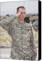 Merit Photo Canvas Prints - A U.s Army Soldier And Recipient Canvas Print by Terry Moore