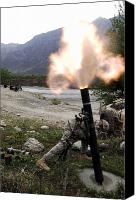 Afghanistan Canvas Prints - A U.s. Army Soldier Ducking Away Canvas Print by Stocktrek Images