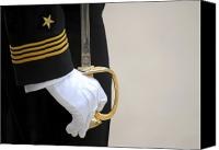 Ceremony Canvas Prints - A U.s. Naval Academy Midshipman Stands Canvas Print by Stocktrek Images
