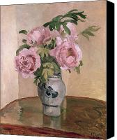 1875 Canvas Prints - A Vase of Peonies Canvas Print by Camille Pissarro
