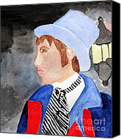 Black Tie Canvas Prints - A Victorian Caroler Canvas Print by Sandy McIntire