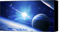 Space Art Canvas Prints - A View Of A Planet As It Looms In Close Canvas Print by Kevin Lafin