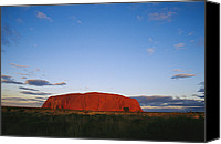 Twilight Views Canvas Prints - A View Of Ayers Rock Under A Twilight Canvas Print by Jason Edwards