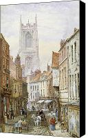 Streetscene Canvas Prints - A View of Irongate Canvas Print by Louise J Rayner
