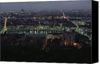 Twilight Views Canvas Prints - A View Of Lyon Between The Pont De La Canvas Print by James L. Stanfield