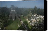 Acropolis Canvas Prints - A View Of Mayan Ruins At Tikal Canvas Print by Kenneth Garrett