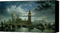 Overcast Painting Canvas Prints - A View of Westminster Abbey and the Houses of Parliament Canvas Print by John MacVicar Anderson