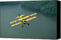 Bi Planes Canvas Prints - A Vintage Stearman 43 Biplane Flies Canvas Print by Stephen Alvarez