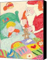 Santa Claus Drawings Canvas Prints - A Visit From Santa Canvas Print by Sonya Chalmers
